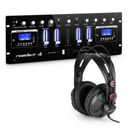 Resident DJ DJ405USB-BK 4kanálový DJ mixážní pult včetně studiových sluchátek
