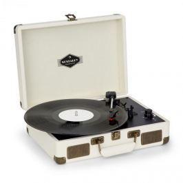 Auna Nostalgy by auna Peggy Sue retro gramofon desky USB AUX krémová / vzhled mosazi