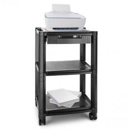 Auna P-Stand, černý, kolečkový stolek pod tiskárnu, zásuvka, tři úložné složky
