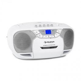 Auna BeeBerry Boom Box, bílý, boom box, přenosné rádio, CD / MP3 přehrávač, kazetový přehrávač