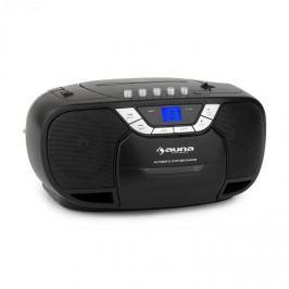 Auna BeeBerry Boom Box, černý, boom box, přenosné rádio, CD / MP3 přehrávač, kazetový přehrávač