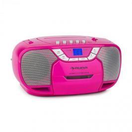 Auna BeeBerry Boom Box, růžový, boom box, přenosné rádio, CD / MP3 přehrávač, kazetový přehrávač