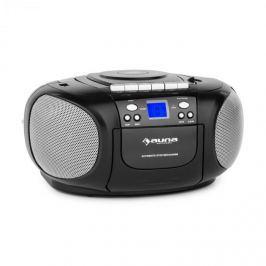 Auna BoomBerry Boom Box, černý, boombox, přenosné rádio, CD / MP3 přehrávač, kazetový přehrávač