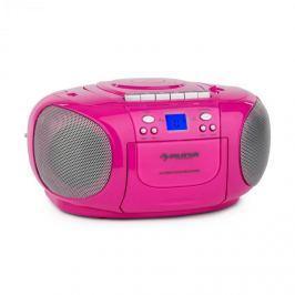 Auna BoomBerry Boom Box, růžový, boombox, přenosné rádio, CD / MP3 přehrávač, kazetový přehrávač