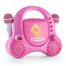 Auna Rockpocket-A PK dětský karaoke systém CD AUX 2x mikrofon nabíjecí baterie růžová barva