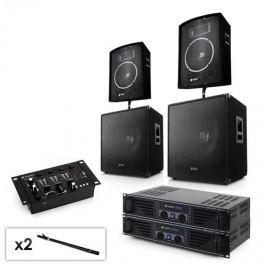 """Electronic-Star Sada 2.2 PA systému s 2x zesilovačem, 2x 15"""" subwooferem, 2x 10"""" reproduktorem, mixérem & kabely"""