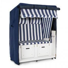 Blumfeldt Hiddensee, modro-bílé proužky, plážový koš, dvojsedačka, 118 cm, ochranný plášť, pozemní kolečka