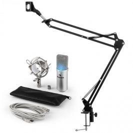 Auna MIC-900S-LED USB MIKROFONNÍ SADA V3 KONDENZÁTOROVÝ MIKROFON + MIKROFONNÍ RAMENO LED STŘÍBRNÁ BARVA