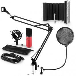 Auna MIC-900RD, USB MIKROFONNÍ SADA V5, ČERVENÁ, kondenzátorové mikrofony, POP FILTER, AKUSTICKÁ CLONA, mikrofonní rameno