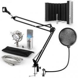 Auna MIC-900S -LED, USB MIKROFONNÍ SADA V5, STŘÍBRNÁ, kondenzátorové mikrofony, POP FILTER, AKUSTICKÁ CLONA, mikrofonní rameno