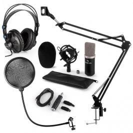 Auna CM003 MIKROFONNÍ SADA V4, ČERNÁ, kondenzátorové mikrofony, USB PŘEVODNÍK, SLUCHÁTKA, mikrofonní rameno, POP FILTER