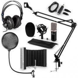Auna CM003 MIKROFONNÍ SADA V5, ČERNÁ, kondenzátorové mikrofony, USB PŘEVODNÍK, SLUCHÁTKA, mikrofonní rameno, POP FILTER, AKUSTICKÁ CLONA