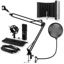 Auna CM001B mikrofonní sada V5 kondenzátorový mikrofon, mikrofonní rameno, pop filtr, panel, černá barva