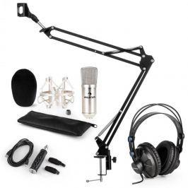 Auna CM001S mikrofonní sada V3 sluchátka, kondenzátorový mikrofon, USB panel, mikrofonní rameno, stříbrná barva