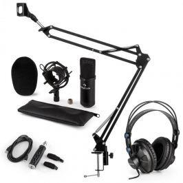 Auna CM001B mikrofonní sada V3 sluchátka, kondenzátorový mikrofon, USB panel, mikrofonní rameno, černá barva