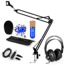 Auna CM001BG mikrofonní sada V3 sluchátka, kondenzátorový mikrofon, USB panel, mikrofonní rameno, modrá barva