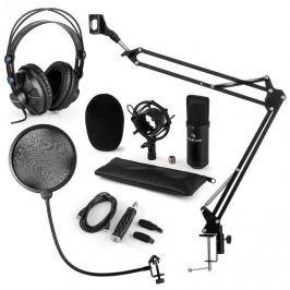 Auna CM001B mikrofonní sada V4 sluchátka, kondenzátorový mikrofon, USB panel, mikrofonní rameno, pop filtr