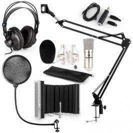 Auna CM001S mikrofonní sada V5 sluchátka, USB panel, mikrofonní rameno, pop filtr, panel, stříbrná barva