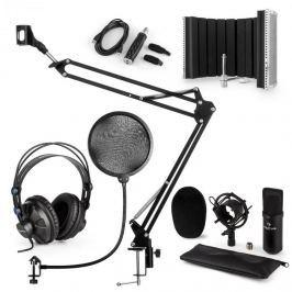 Auna CM001B mikrofonní sada V5 sluchátka, kondenzátorový mikrofon, panel, mikrofonní rameno, pop filtr, černá barva