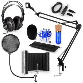 Auna CM001BG mikrofonní sada V5 sluchátka, panel, USB konvertor, mikrofonní rameno, pop filtr, modrá barva