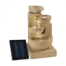 Blumfeldt Korinth, ozdobná fontána, zahradní fontána, solární 3W panel, LED, pískovcová optika