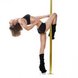 Klarfit Gold Dust, taneční tyč, otáčecí/statická, 2,74 m, nerez, titan, zlatá, 45 mm