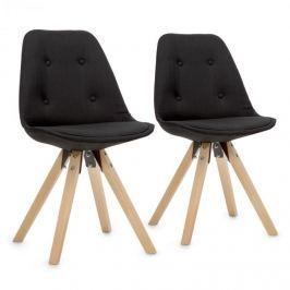 Oneconcept Iseo židle, 2-dílná sada, polstrovaná PP-konstrukce sedáku, březové dřevo, černá barva