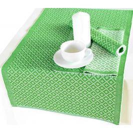 Forbyt, Prostírání bavlněné, Kostičky, obdélník, zelená 45 x 120 cm