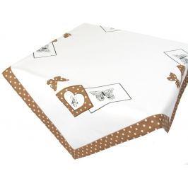 Forbyt, Ubrus vyšívaný, Motýl a tečky, hnědý 35 x 160 cm