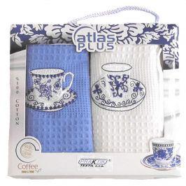 Forbyt, Dárkové balení 2 ks bavlněných utěrek, Šálky bílo-modré, 50 x 70 cm