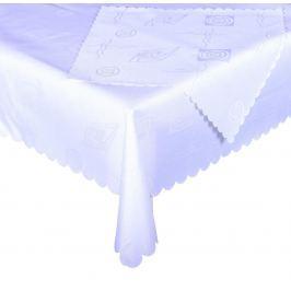 Forbyt, Ubrus s nešpínivou úpravou, Protiskluzový Vlnky komplet, bílý, 1 ks + 4 ks