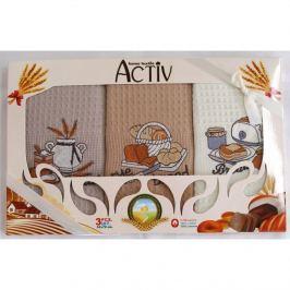 Forbyt , Dárkové balení 3 ks bavlněných utěrek, Snídaně, 50 x 70 cm