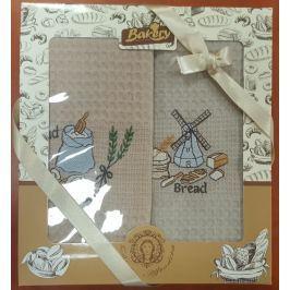 Forbyt , Dárkové balení 2 ks bavlněných utěrek, Mlýn s pečivem, 50 x 70 cm