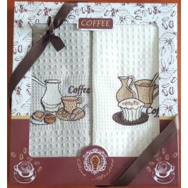 Forbyt , Dárkové balení 2 ks bavlněných utěrek, Coffee šálky s dortíkem, 50 x 70 cm