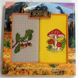 Forbyt , Dárkové balení 2 ks bavlněných utěrek, Muchomůrka na žlutém, 50 x 70 cm
