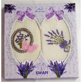 Forbyt , Dárkové balení 2 ks bavlněných utěrek, Levandule, motýl a kytice, 50 x 70 cm