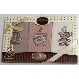 Forbyt , Dárkové balení 3 ks bavlněných utěrek, Coffee šálky, 50 x 70 cm