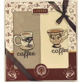 Forbyt, Dárkové balení 2 ks bavlněných utěrek, Coffe šálky, 50 x 70 cm