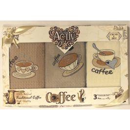 Forbyt, Dárkové balení 3 ks bavlněných utěrek, Coffee šálky se srdíčkem, 50 x 70 cm