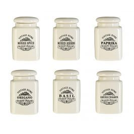 Sada 6 dóz s víkem na koření Vintage Home Cream