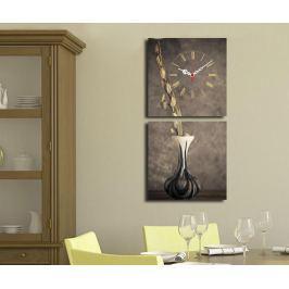 Sada 2 obrazů s hodinami Vase 28x28 cm