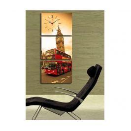 Sada 3 obrazů s hodinami Red Bus 30x40 cm