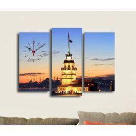 Sada 3 obrazů s hodinami Sunset