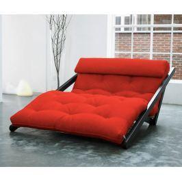 Rozkládací lehatko do obývačky Figo Wenge & Red 120x200 cm
