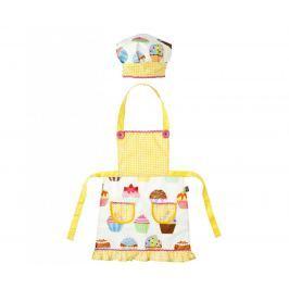 Sada kuchyňská zástěra a čepice pro děti Yellow Cupcake