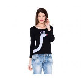 Dámské triko s dlouhým rukávem Peacock Black L Oděvy & obuv