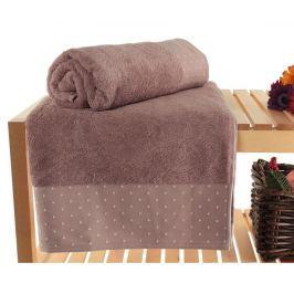 Sada 2 ručníků Polka Dots Dusty Rose 90x150 cm