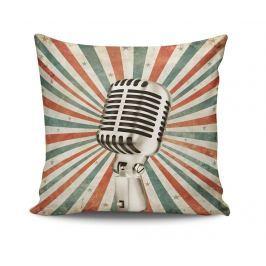Dekorační polštář Retro Microphone 45x45 cm Dekorační polštáře