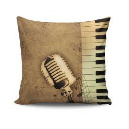 Dekorační polštář Microphone & Music Notes 45x45 cm Dekorační polštáře