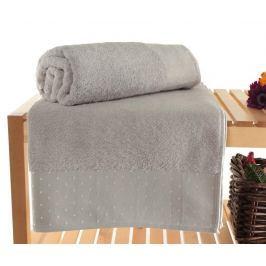 Sada 2 ručníků Polka Dots Light Grey 90x150 cm